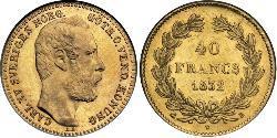 40 Franc Sweden Gold Charles XV of Sweden (1826 - 1872)