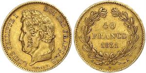 40 Franc Monarchie de Juillet (1830-1848) Or Louis-Philippe I (1773 -1850)