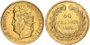40 Franc Monarquía de Julio (1830-1848) Oro Luis Felipe I de Francia  (1773 -1850)