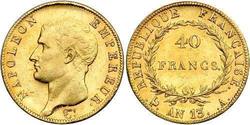 40 Franc Primer Imperio francés (1804-1814) Oro Napoleón Bonaparte(1769 - 1821)