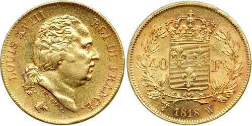 40 Franc Reino de Francia (1815-1830) Oro Luis XVIII de Francia (1755-1824)