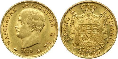 40 Lira Reino de Italia (1805–1814) Oro Napoleón Bonaparte(1769 - 1821)