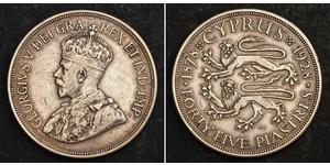 45 Piastre British Cyprus (1878 - 1960) Argento Giorgio V (1865-1936)