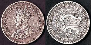 45 Piastre British Cyprus (1878 - 1960) Silber George V (1865-1936)