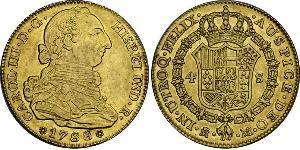 4 Ескудо Іспанська Імперія (1700 - 1808) Золото Карл III король Іспанії (1716 -1788)