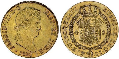 4 Ескудо Королівство Іспанія (1814 - 1873) Золото Фердинанд VII король Іспанії (1784-1833)