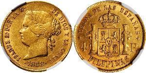 4 Песо Филиппины Золото Isabella II of Spain (1830- 1904)
