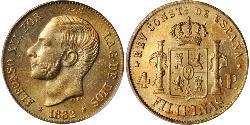 4 Песо Філіппіни Золото Alfonso XII of Spain (1857 -1885)