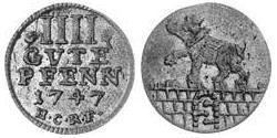 4 Пфенниг Ангальт-Бернбург (1603 - 1863) Серебро (билон) Victor Frederick, Prince of Anhalt-Bernburg (1700 – 1765)