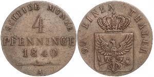 4 Пфеніг Королівство Пруссія (1701-1918) Мідь