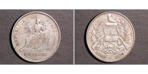 4 Реал Республика Гватемала (1838 - ) Серебро
