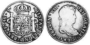 4 Реал Рио-де-ла-Плата (вице-королевство) (1776 - 1814) / Боливия Серебро Фердинанд VII король Испании (1784-1833)