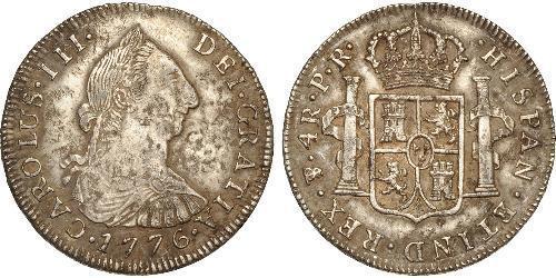 4 Реал Рио-де-ла-Плата (вице-королевство) (1776 - 1814) / Боливия Серебро Карл III король Испании (1716 -1788)