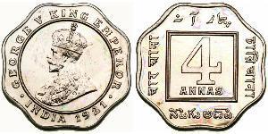 4 Anna 英属印度 (1858 - 1947) 銅/镍 乔治五世  (1865-1936)