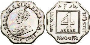 4 Anna British Raj (1858-1947) Copper/Nickel George V of the United Kingdom (1865-1936)