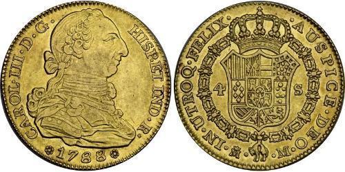 4 Escudo 西班牙帝國 金 卡洛斯三世 (西班牙) (1716 -1788)