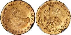 4 Escudo Second Federal Republic of Mexico (1846 - 1863) Gold