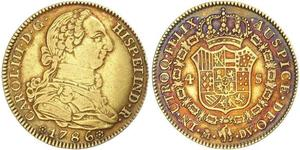 4 Escudo Spanish Empire (1700 - 1808) Gold Charles III of Spain (1716 -1788)