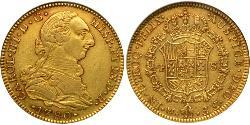 4 Escudo Spanish Mexico  / Kingdom of New Spain (1519 - 1821) Gold Charles III of Spain (1716 -1788)