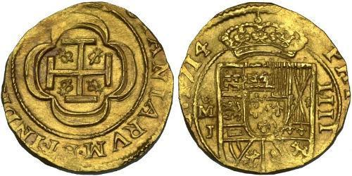 4 Escudo Spanish Mexico  / Kingdom of New Spain (1519 - 1821) Gold Philip V of Spain(1683-1746)