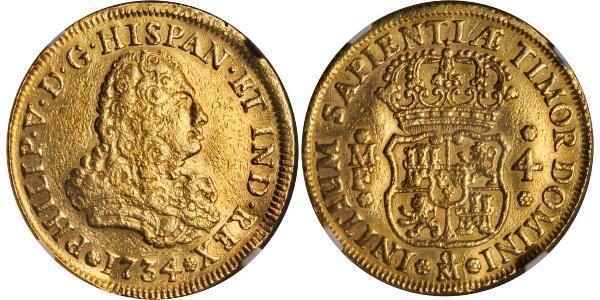 4 Escudo Spanish Mexico  / Kingdom of New Spain (1519 - 1821) Gold Philip V of Spain(1683-1746)