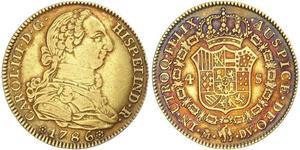 4 Escudo Impero spagnolo (1700 - 1808) Oro Carlo III di Spagna (1716 -1788)