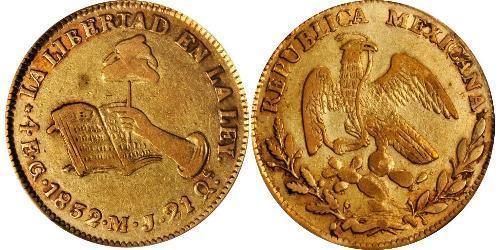 4 Escudo Second Federal Republic of Mexico (1846 - 1863) Oro