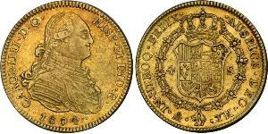 4 Escudo Vicereame della Nuova Spagna (1519 - 1821) Oro Carlo IV di Spagna (1748-1819)