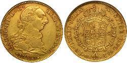 4 Escudo Virreinato de Nueva España (1519 - 1821) Oro Carlos III de España (1716 -1788)