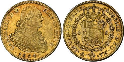 4 Escudo Virreinato de Nueva España (1519 - 1821) Oro Carlos IV de España (1748-1819)