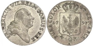 4 Groschen 普魯士王國 (1701 - 1918) 銀 腓特烈·威廉二世