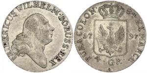 4 Groschen Regno di Prussia (1701-1918) Argento Federico Guglielmo II di Prussia