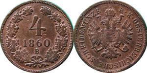 4 Kreuzer Imperio austríaco (1804-1867) Cobre
