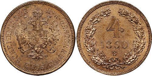 4 Kreuzer Impero austriaco (1804-1867) Rame