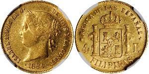 4 Peso 菲律宾 金 Isabella II of Spain (1830- 1904)