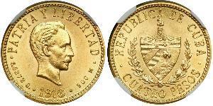4 Peso  金 Jose Julian Marti Perez (1853 - 1895)