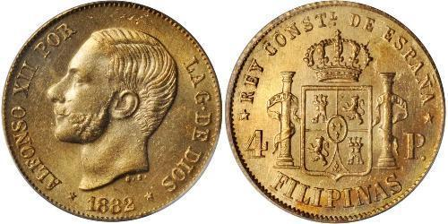 4 Peso Philippinen Gold Alfonso XII of Spain (1857 -1885)