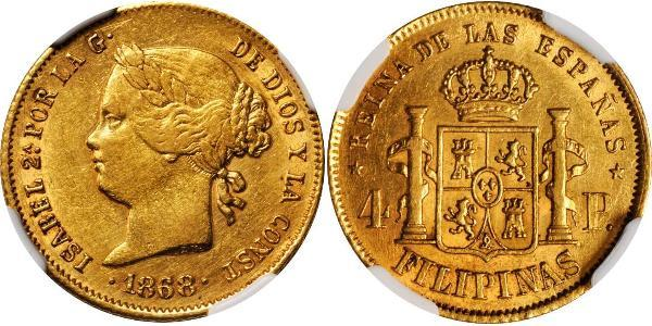 4 Peso Philippines Gold Isabella II of Spain (1830- 1904)