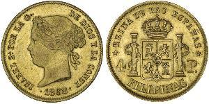 4 Peso Philippines Or Isabella II of Spain (1830- 1904)