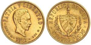 4 Peso  Or Jose Julian Marti Perez (1853 - 1895)