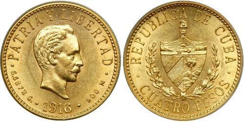4 Peso  Or Jose Julian Marti Perez (1853 - 1895)
