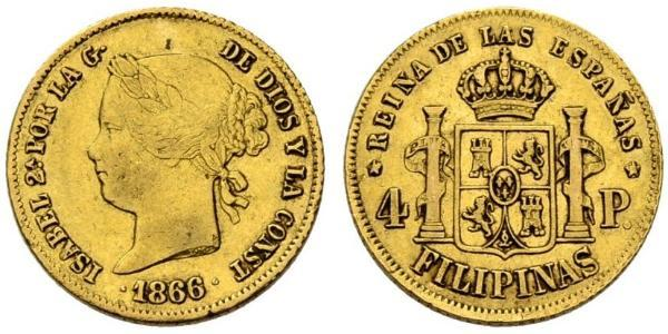 4 Peso Filipinas Oro Isabella II of Spain (1830- 1904)