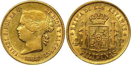 4 Peso Filippine Oro Isabella II of Spain (1830- 1904)