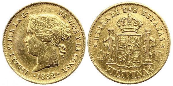 4 Peso Filippine Oro Isabella II of Spain (1830- 1904)