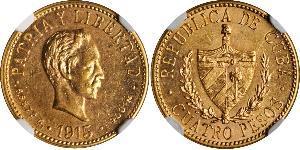 4 Peso  Oro Jose Julian Marti Perez (1853 - 1895)