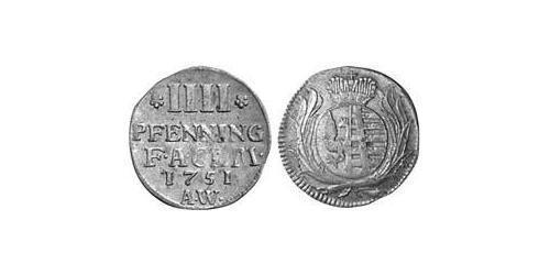 4 Pfennig Anhalt-Köthen (1603 -1853) Billon Argent Auguste-Louis d