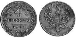 4 Pfennig Principality of Ansbach (1398–1792) Copper Charles William Frederick, Margrave of Brandenburg-Ansbach (1712 – 1757)