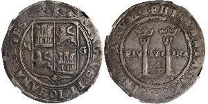 4 Real Vicereame della Nuova Spagna (1519 - 1821) Argento Carlo V del Sacro Romano Impero (1500-1558)