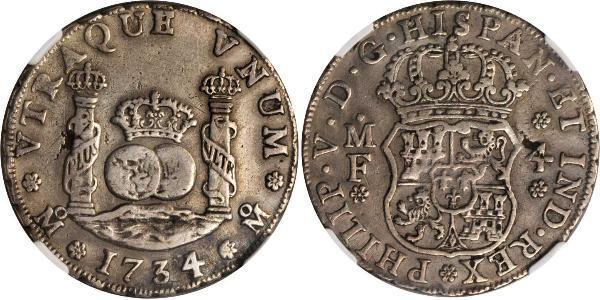4 Real Vicereame della Nuova Spagna (1519 - 1821) Argento Filippo V di Spagna (1683-1746)