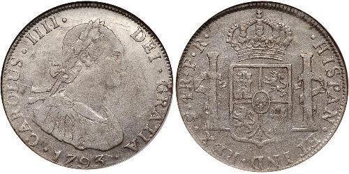 4 Real Spanish Colonies Silber Karl IV (1748-1819)
